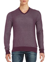 Michael Kors Textured V Neck Sweater Blackberry