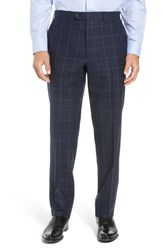 John W. Nordstrom Torino Traditional Fit Flat Front Plaid Wool And Cashmere Trousers Navy
