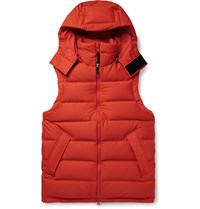 Y 3 Logo Print Quilted Shell Down Hooded Gilet Orange