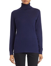 Lord And Taylor Petite Merino Wool Turtleneck Sweater Evening Blue
