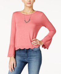 One Hart Juniors' Embroidered Bell Sleeve Top Baroque Rose