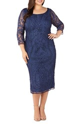Js Collections Plus Size Soutache Embroidered Dress Midnight Multi