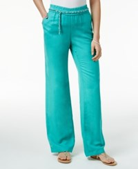 Jm Collection Linen Blend Chain Belt Pants Only At Macy's Mermaid Green