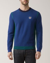 Kenzo Blue And Green Dual Fabric Crew Neck Sweater