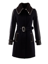 Morgan Knitted Collar Belted Coat Navy