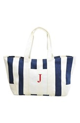 Cathy's Concepts Personalized Stripe Canvas Tote Blue Navy J