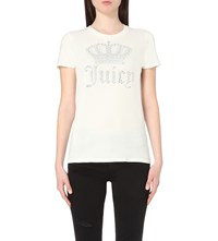 Juicy Couture Crown Logo Cotton Jersey T Shirt Vanilla