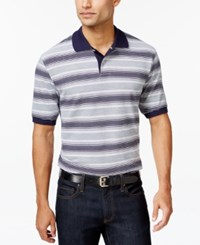 Club Room Big And Tall Stripe Polo Only At Macy's Navy Blue