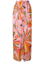Emilio Pucci Printed Maxi Skirt Women Silk 42 Pink Purple