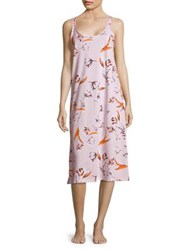 Lord And Taylor Floral Print Long Cotton Chemise Black