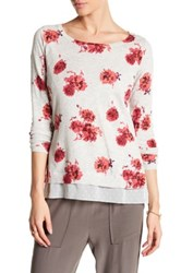 Lucky Brand Floral Vented Pullover Gray