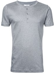 Estnation Button Collar T Shirt Men Cotton Lyocell L Grey