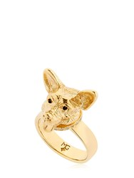 Mg Trends Gold Plated Silver Welsh Corgi Ring