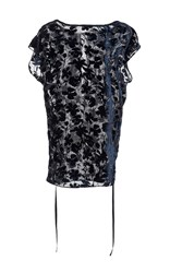 Nili Lotan Graham Floral Burnout Tunic Navy