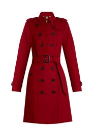 Burberry Sandringham Long Gabardine Trench Coat Red