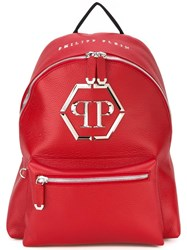 Philipp Plein Logo Plaque Backpack Red