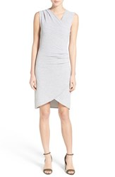 Women's Rd Style Sleeveless Asymmetrical Faux Wrap Sheath Dress Silver