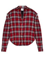 Vetements Exaggerated Shoulder Checked Flannel Shirt Red Multi