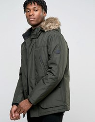 Jack And Jones Parka With Faux Fur Hood Khaki Green