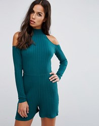 Asos High Neck Rib Cold Shoulder Playsuit Teal Multi