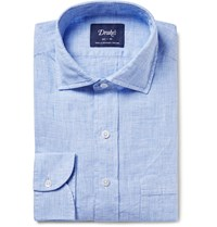 Drakes Blue Prince Of Wales Checked Linen Shirt Blue