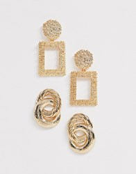 New Look 2 Pack Rectangle Drop And Linked Hoop Earrings In Gold Gold