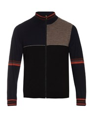 Paul Smith Zip Up Panelled Wool And Silk Blend Cardigan Black Multi