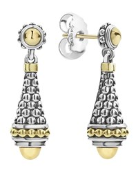 Lagos Silver And 18K Gold Caviar Drop Earrings Yellow Gray