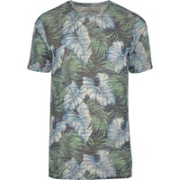 Jack And Jones River Island Blue Vintage Leaf Print T Shirt