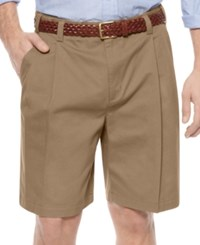 Geoffrey Beene Shorts Extender Waist Double Pleat Shorts Khaki