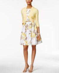 Jessica Howard Belted Floral Print Fit And Flare Dress And Cardigan