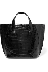 Victoria Beckham Tulip Small Croc Effect Leather Tote Black