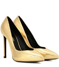 Saint Laurent Metallic Embossed Leather Pumps Gold