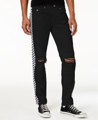 American Stitch Men's Straight Fit Checker Stripe Destroyed Jeans Black With White Checker