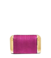 Michael Kors Leyla Small Sueded Snakeskin Clutch Fuchsia