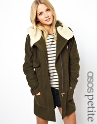 Asos Petite Exclusive Patched Wool Parka With Fur Lining