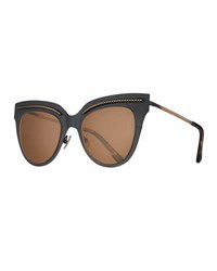 Bottega Veneta Metal Intrecciato Cat Eye Sunglasses Black