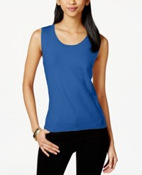 August Silk Sleeveless Silk Blend Scoop Neck Shell Hyper Blue