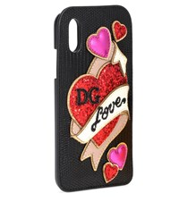 Dolce And Gabbana Embellished Leather Iphone X Case Black