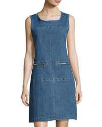 Neiman Marcus Denim Shift Dress Indigo