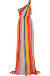 Carolina Herrera One Shoulder Striped Pleated Silk Tulle Gown Yellow