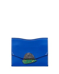 Proenza Schouler New Small Clutch Smooth Leather Bag Memphis Blue