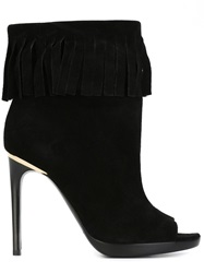Burberry Fringed Stiletto Booties Black