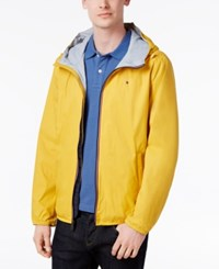 Tommy Hilfiger Men's Zip Front Hooded Windbreaker Yellow