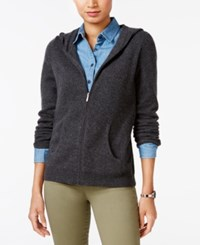 Charter Club Cashmere Zip Front Hoodie Only At Macy's Heather Cinder