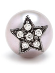 Carolina Bucci Pearl And Large Star Stud Earring Black