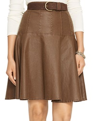Lauren Ralph Lauren Coated Denim Skirt Brown