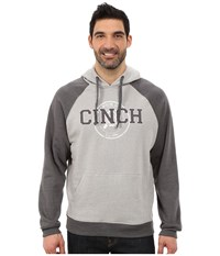 Cinch Fleece Hoodie Color Blocked Heather Grey Men's Sweatshirt Gray