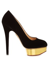 Charlotte Olympia Dolly Suede Pumps Black