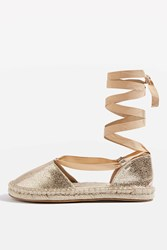 Topshop Aria Two Part Espadrilles Rose Gold